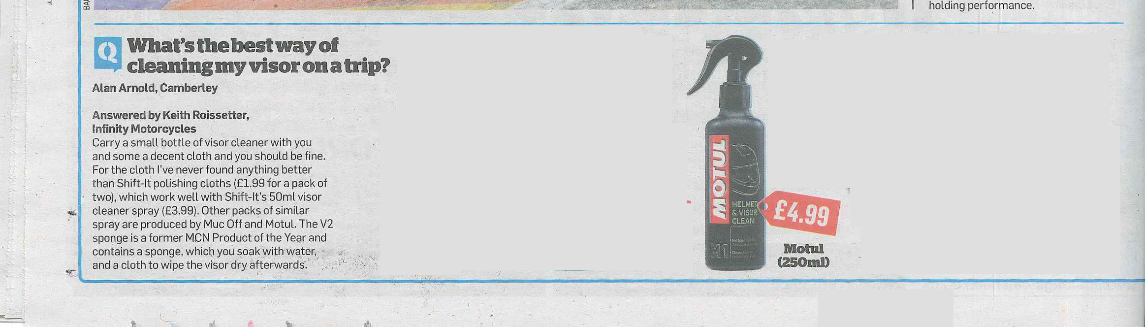 Motul Helmet Cleaner Review in MCN